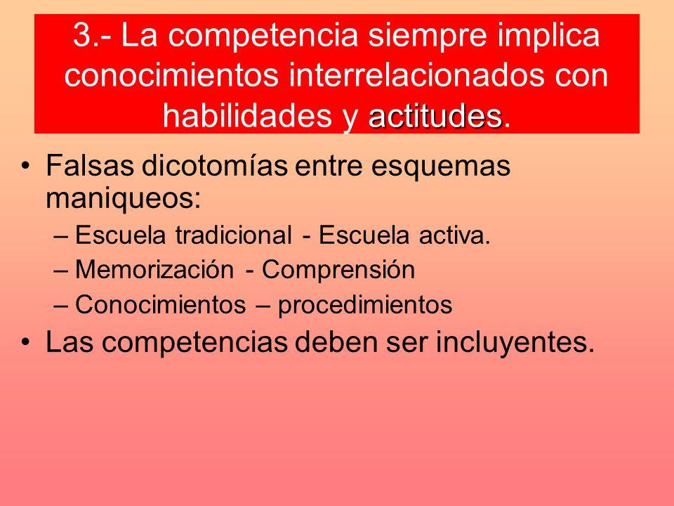 3.- La competencia siempre implica conocimientos interrelacionados con habilidades y actitudes.
