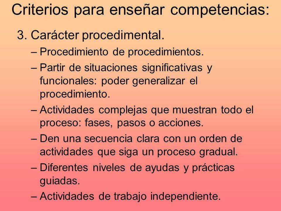 Criterios para enseñar competencias: