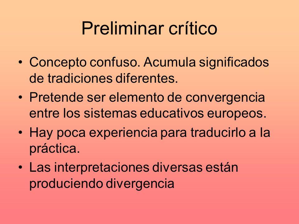 Preliminar crítico Concepto confuso. Acumula significados de tradiciones diferentes.