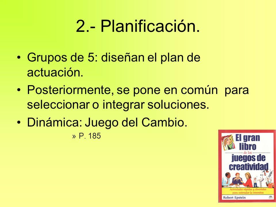 2.- Planificación. Grupos de 5: diseñan el plan de actuación.