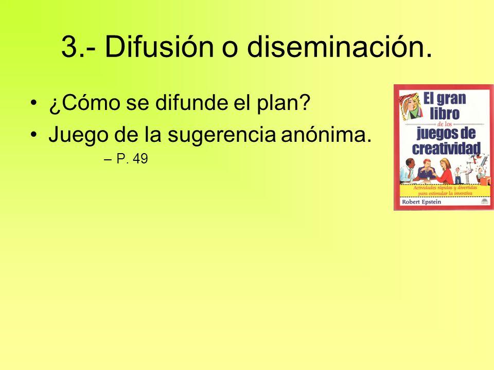 3.- Difusión o diseminación.