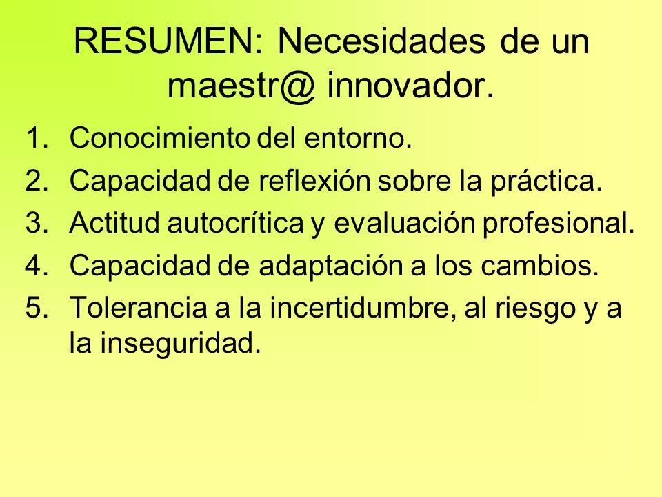 RESUMEN: Necesidades de un maestr@ innovador.