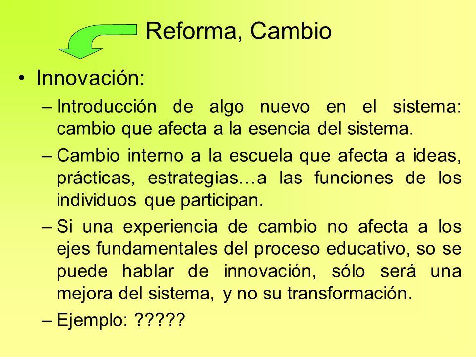 Reforma, Cambio Innovación: