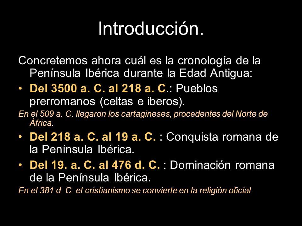 Introducción.Concretemos ahora cuál es la cronología de la Península Ibérica durante la Edad Antigua: