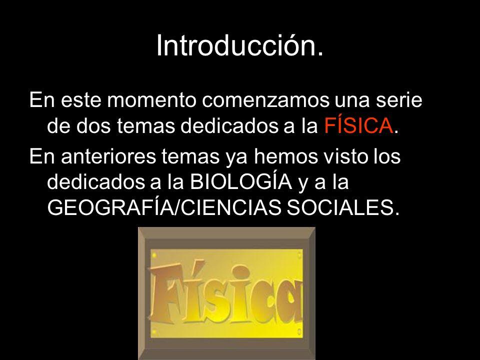 Introducción. En este momento comenzamos una serie de dos temas dedicados a la FÍSICA.