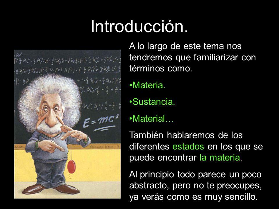 Introducción. A lo largo de este tema nos tendremos que familiarizar con términos como. Materia. Sustancia.