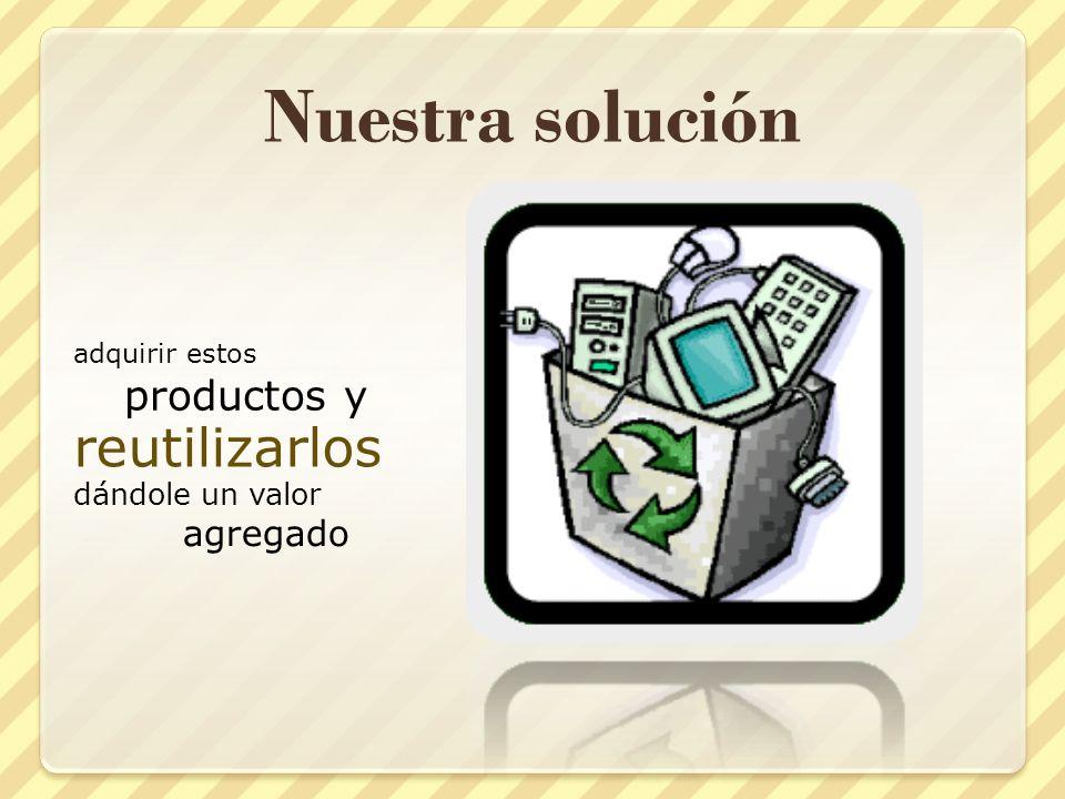 Nuestra solución reutilizarlos productos y agregado dándole un valor