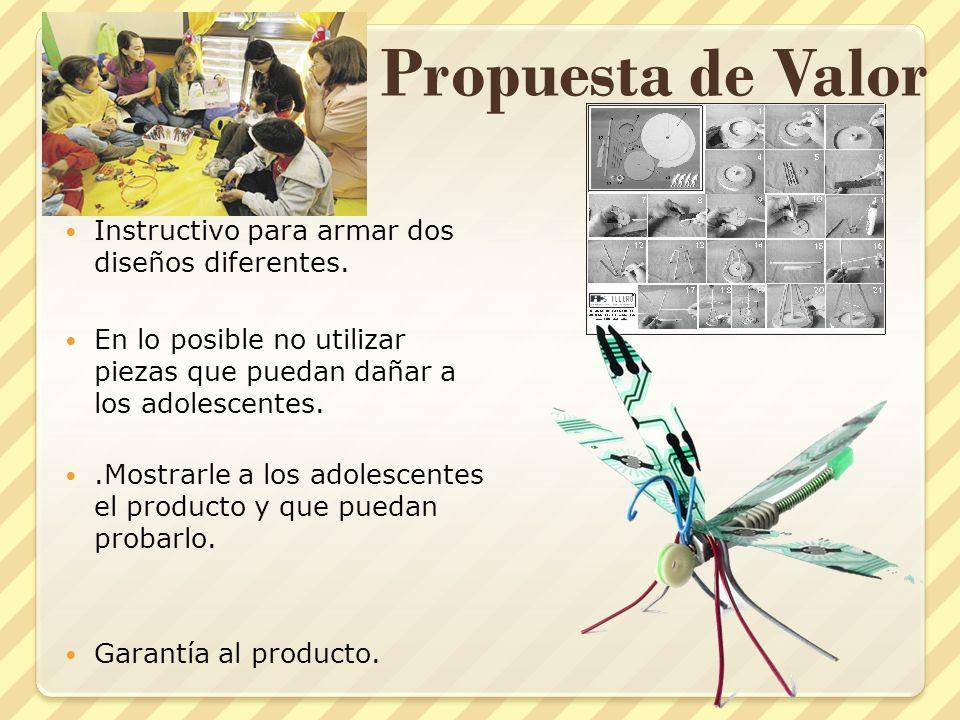 Propuesta de Valor Instructivo para armar dos diseños diferentes.