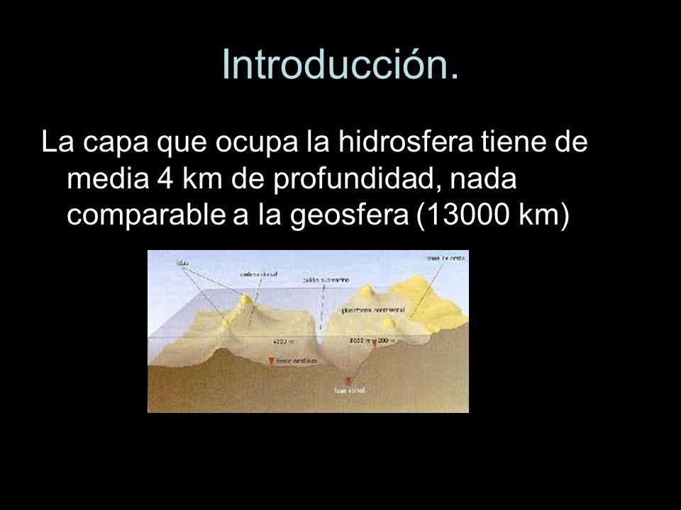 Introducción.La capa que ocupa la hidrosfera tiene de media 4 km de profundidad, nada comparable a la geosfera (13000 km)