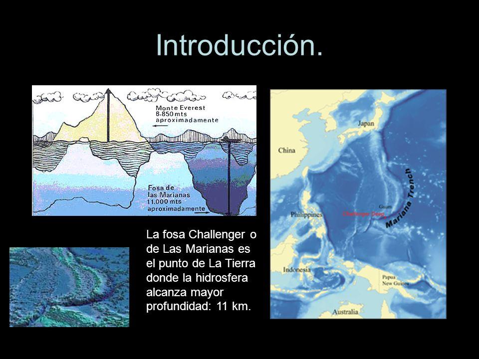 Introducción.La fosa Challenger o de Las Marianas es el punto de La Tierra donde la hidrosfera alcanza mayor profundidad: 11 km.