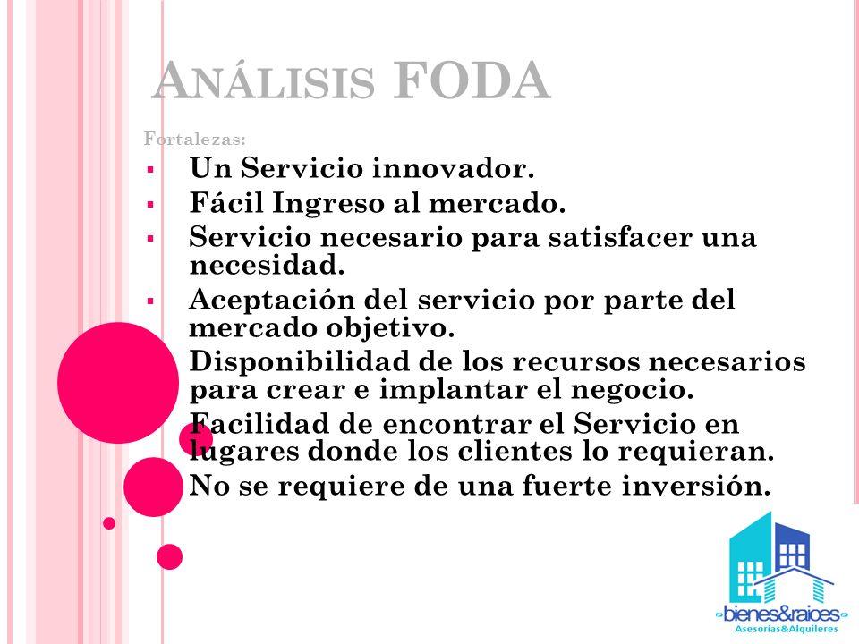 Análisis FODA Un Servicio innovador. Fácil Ingreso al mercado.