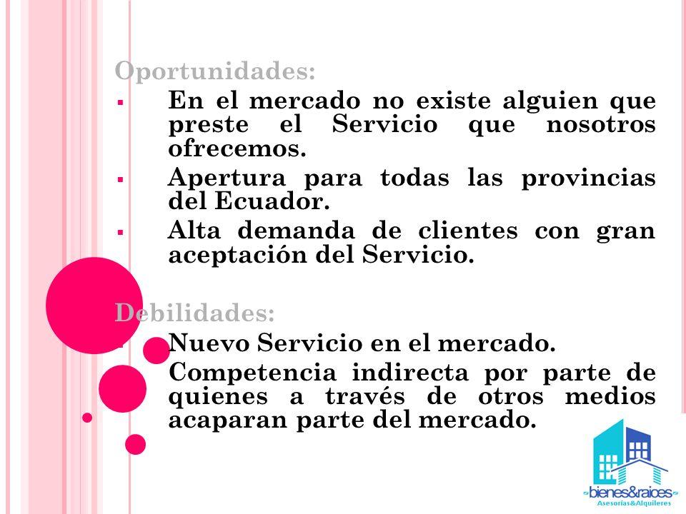 Oportunidades: En el mercado no existe alguien que preste el Servicio que nosotros ofrecemos. Apertura para todas las provincias del Ecuador.