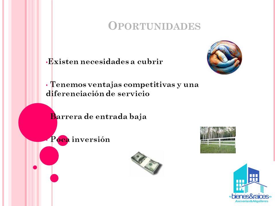 Oportunidades Existen necesidades a cubrir