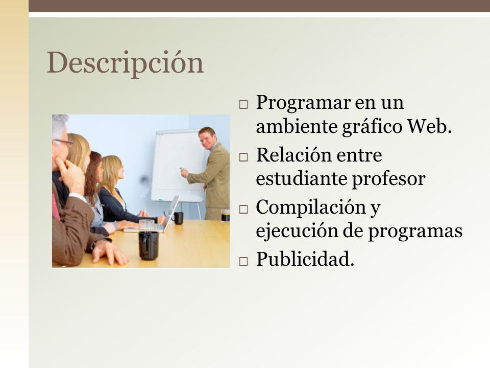 Descripción Programar en un ambiente gráfico Web.