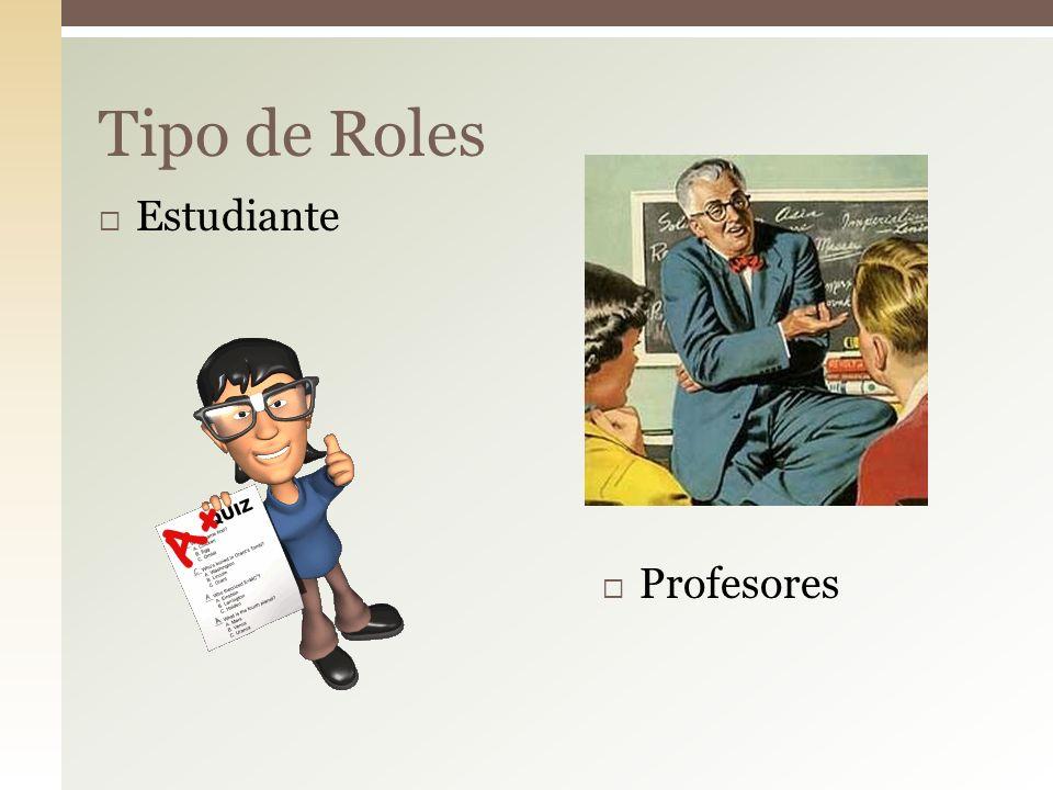 Tipo de Roles Estudiante Profesores