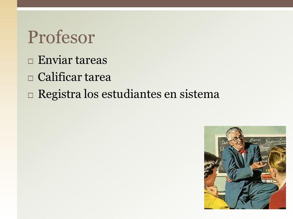 Profesor Enviar tareas Calificar tarea