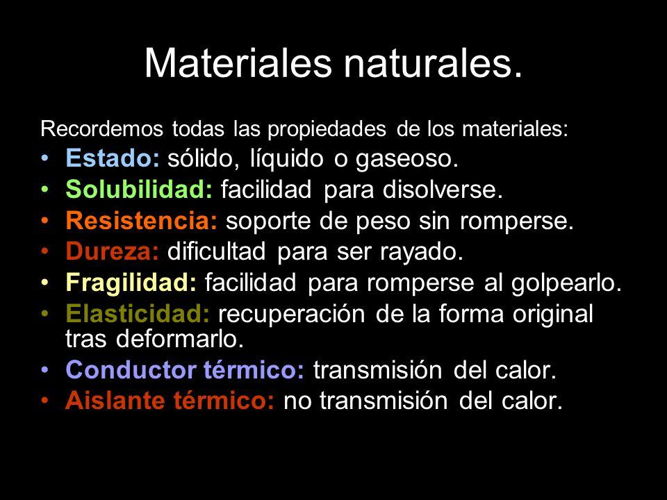 Materiales naturales. Estado: sólido, líquido o gaseoso.