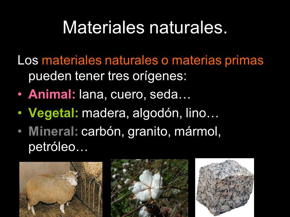 Materiales naturales. Los materiales naturales o materias primas pueden tener tres orígenes: Animal: lana, cuero, seda…