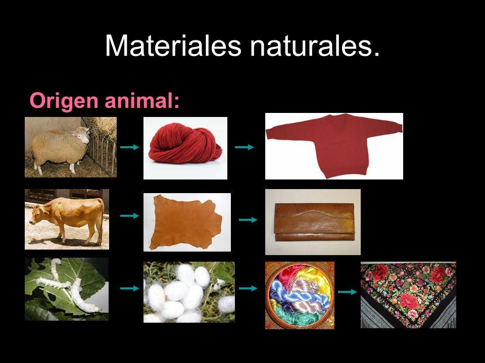 Materiales naturales. Origen animal: