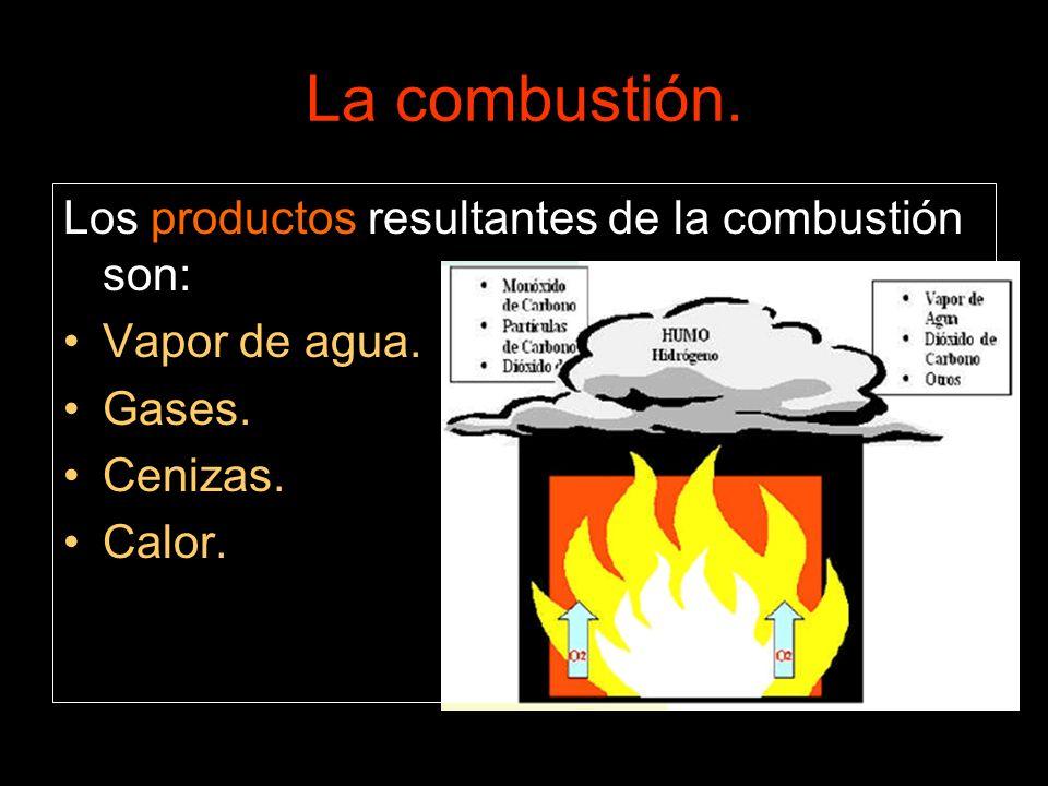 La combustión. Los productos resultantes de la combustión son: