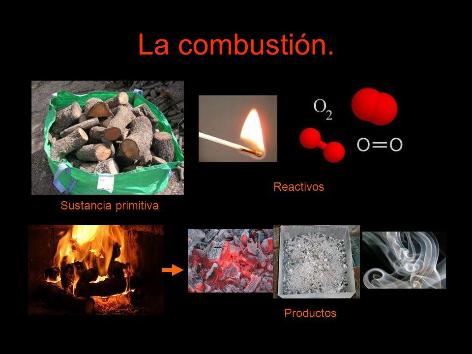 La combustión. Reactivos Sustancia primitiva Productos