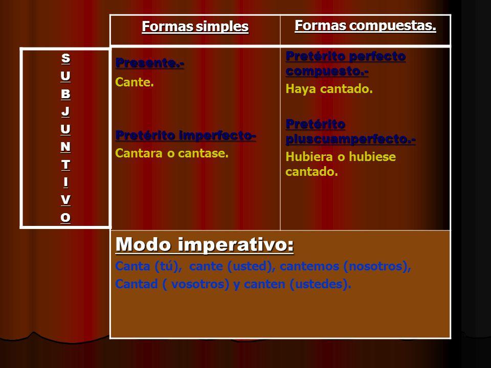 Modo imperativo: Formas simples Formas compuestas. Presente.- Cante.