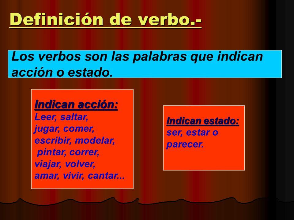 Definición de verbo.- Los verbos son las palabras que indican
