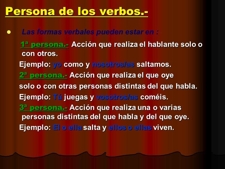Persona de los verbos.- Las formas verbales pueden estar en : 1ª persona.- Acción que realiza el hablante solo o con otros.