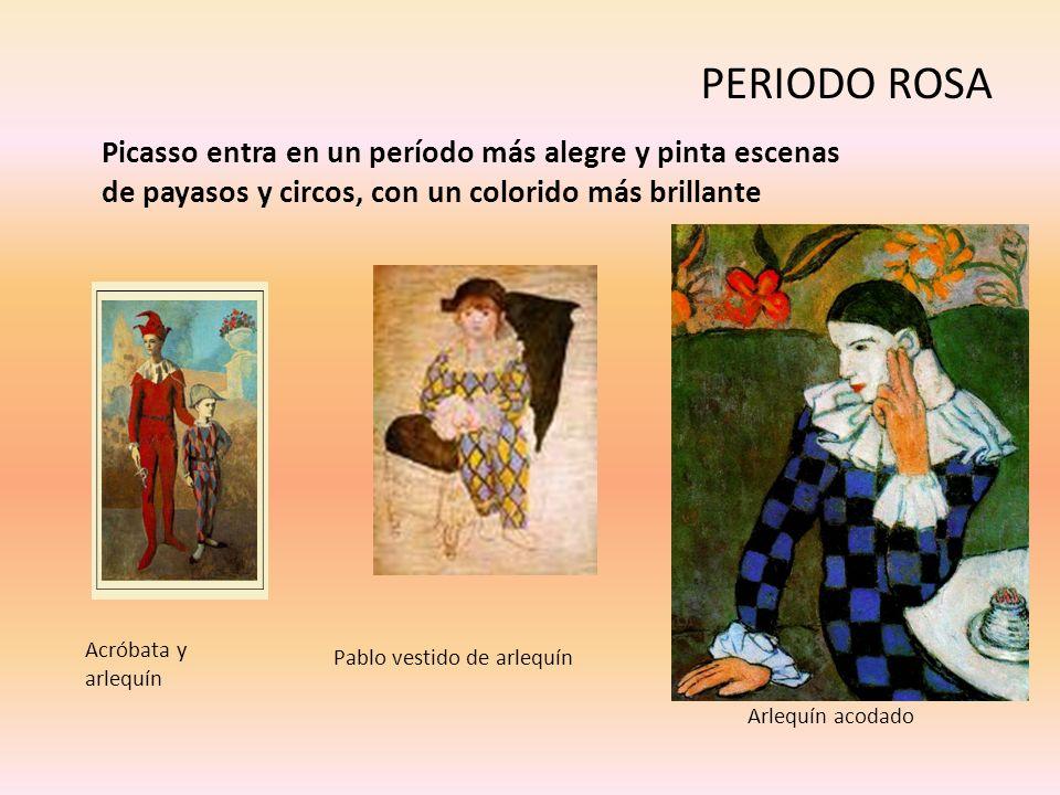 PERIODO ROSAPicasso entra en un período más alegre y pinta escenas de payasos y circos, con un colorido más brillante.