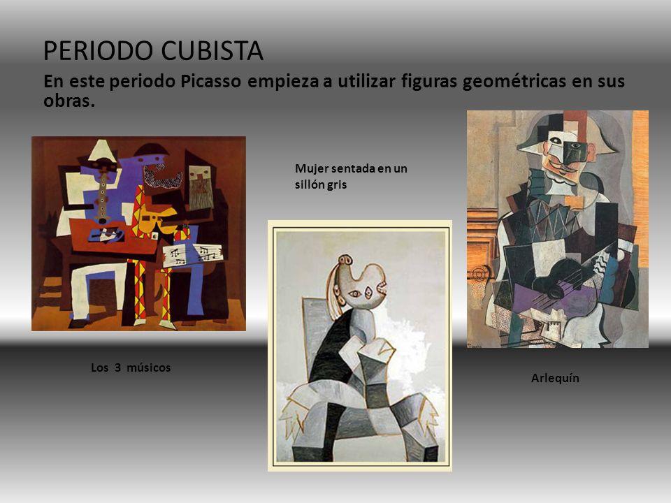 PERIODO CUBISTA En este periodo Picasso empieza a utilizar figuras geométricas en sus obras. Mujer sentada en un sillón gris.