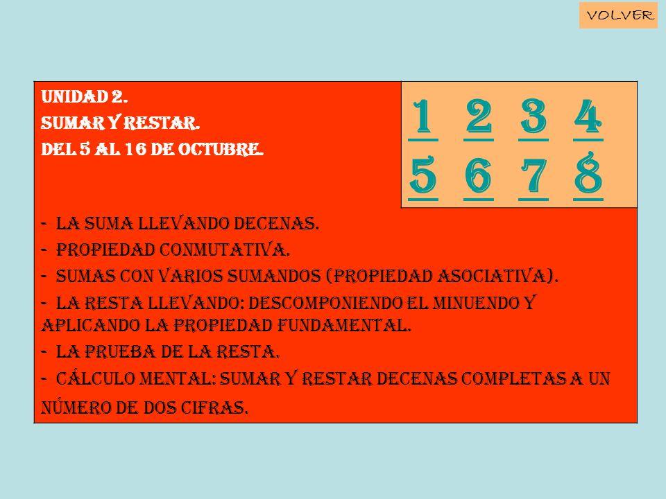 1 2 3 4 5 6 7 8 Unidad 2. SUMAR Y RESTAR. Del 5 al 16 de octubre.