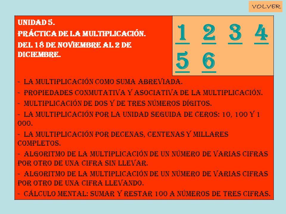 1 2 3 4 5 6 Unidad 5. PRÁCTICA DE LA MULTIPLICACIÓN.