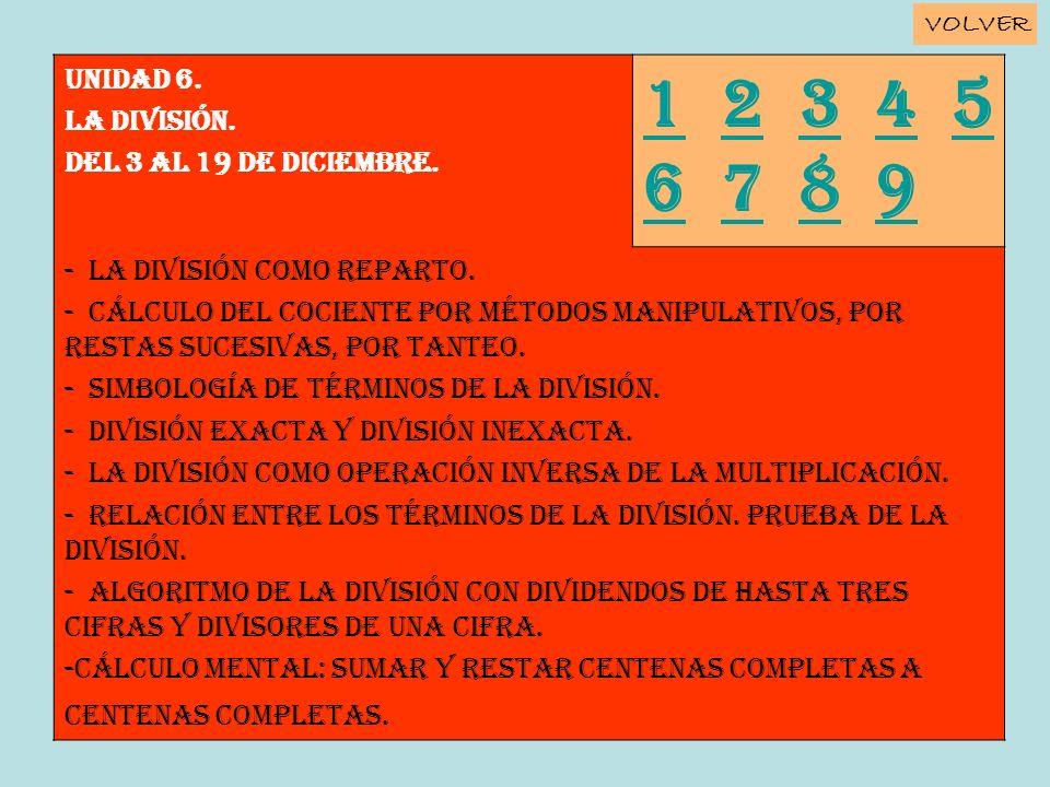 1 2 3 4 5 6 7 8 9 Unidad 6. LA DIVISIÓN. Del 3 al 19 de diciembre.