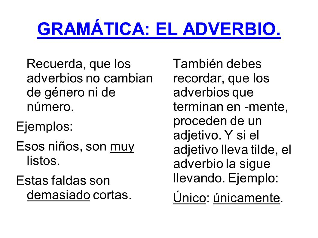 GRAMÁTICA: EL ADVERBIO.