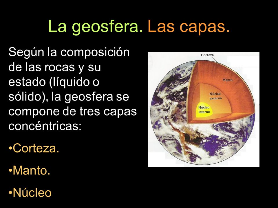 La geosfera. Las capas. Según la composición de las rocas y su estado (líquido o sólido), la geosfera se compone de tres capas concéntricas: