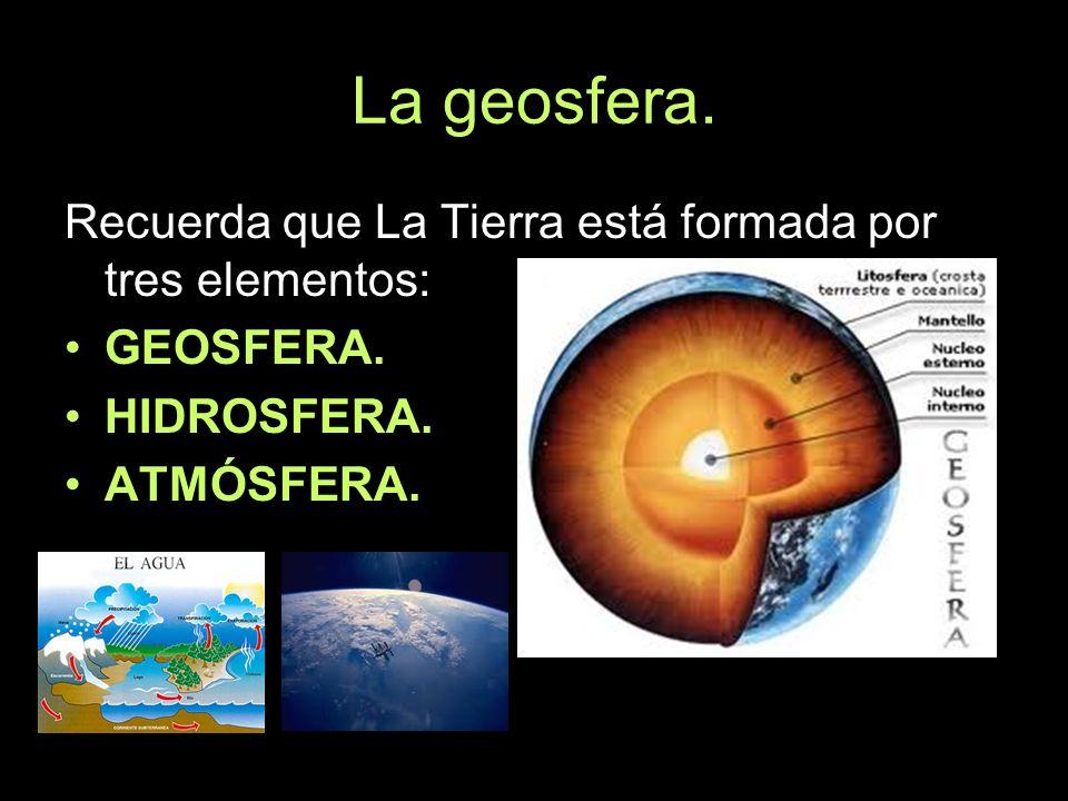 La geosfera. Recuerda que La Tierra está formada por tres elementos: