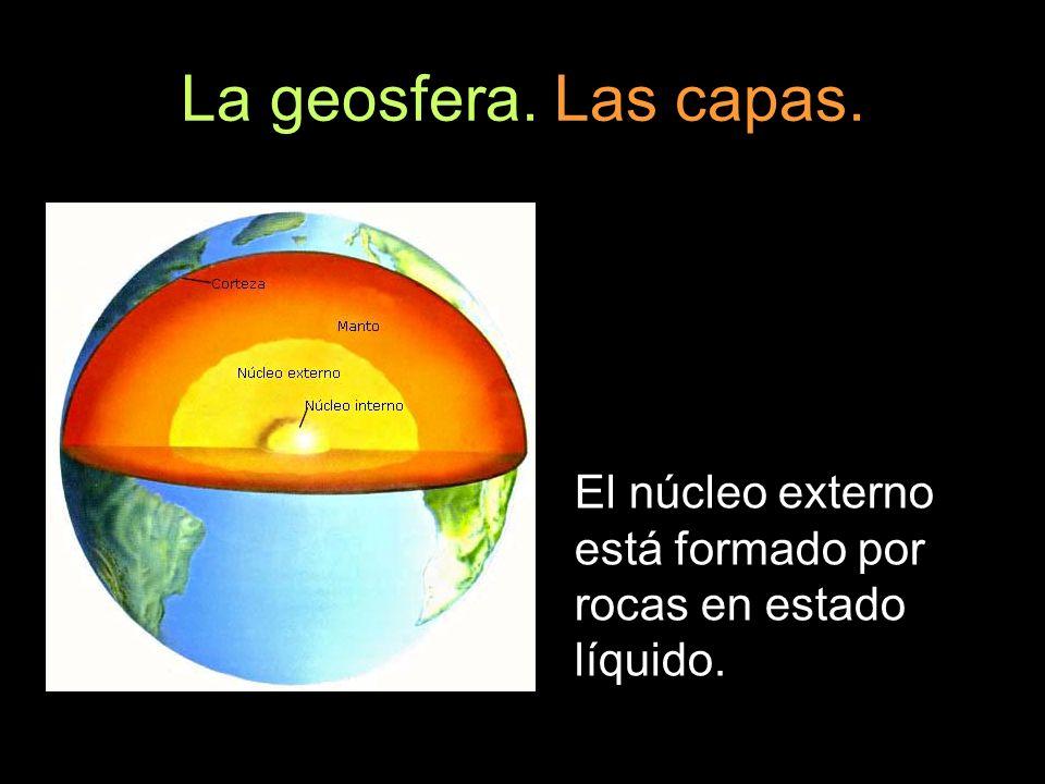 La geosfera. Las capas. El núcleo externo está formado por rocas en estado líquido.