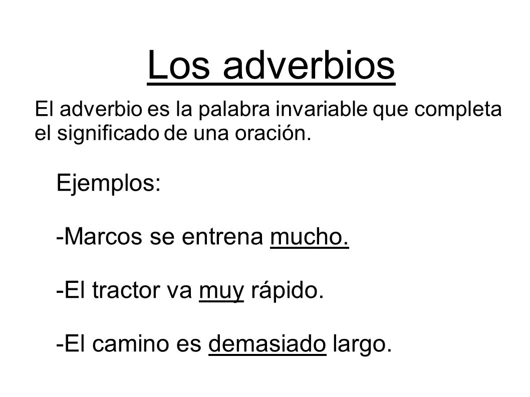 Los adverbios Ejemplos: -Marcos se entrena mucho.