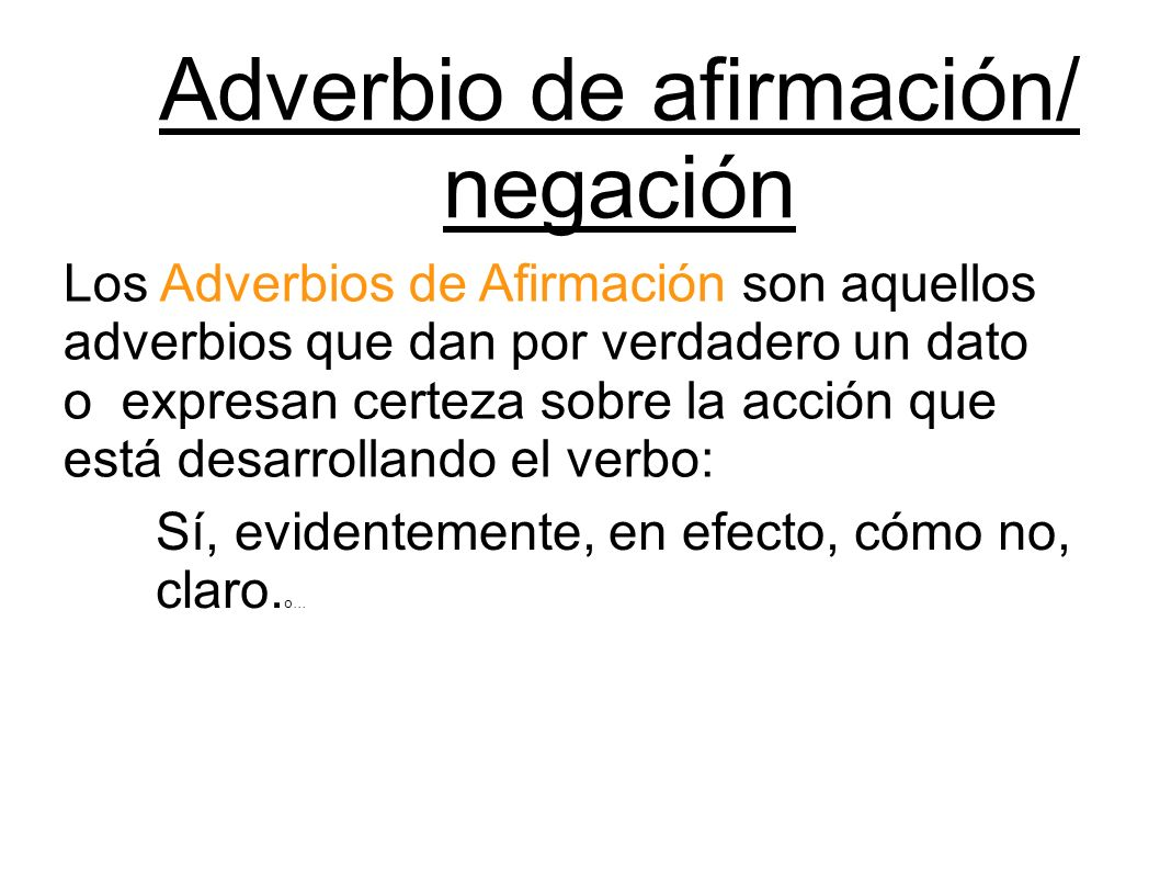Adverbio de afirmación/