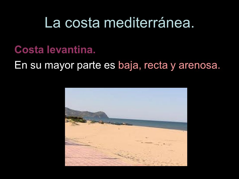 La costa mediterránea. Costa levantina.