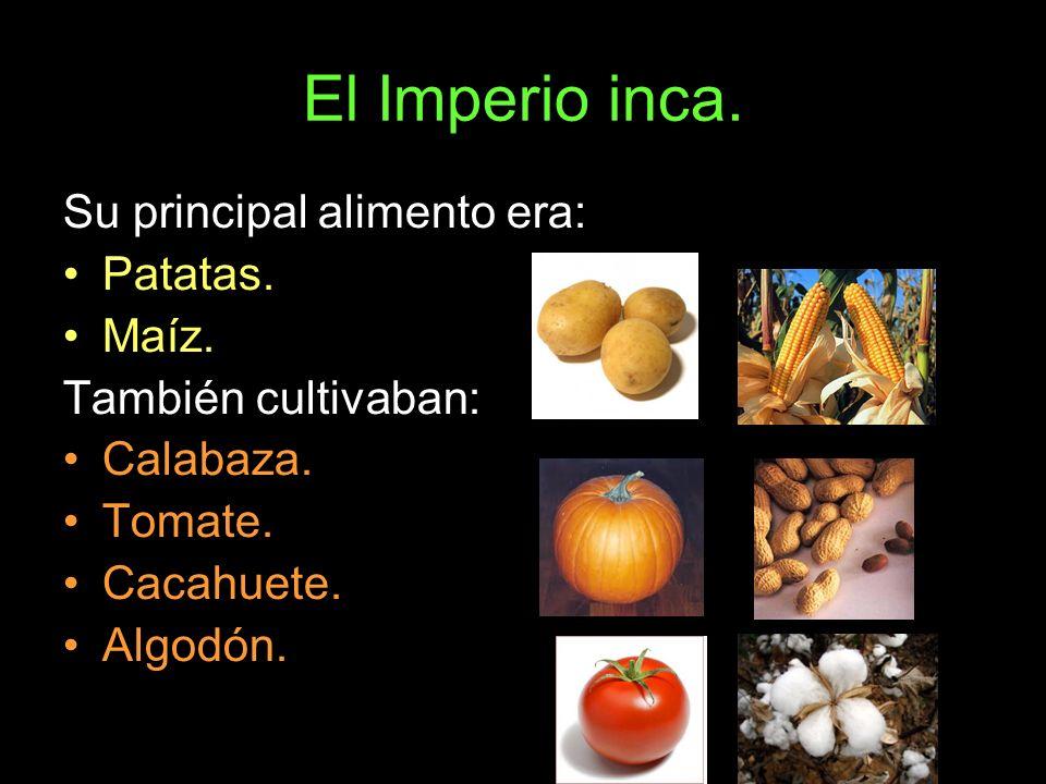El Imperio inca. Su principal alimento era: Patatas. Maíz.