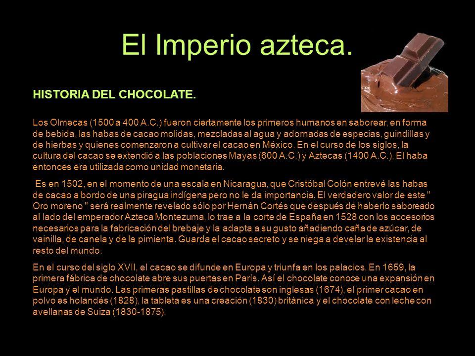 El Imperio azteca. HISTORIA DEL CHOCOLATE.