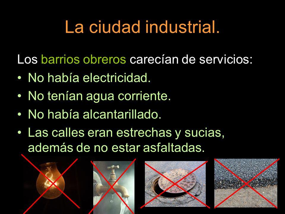La ciudad industrial. Los barrios obreros carecían de servicios:
