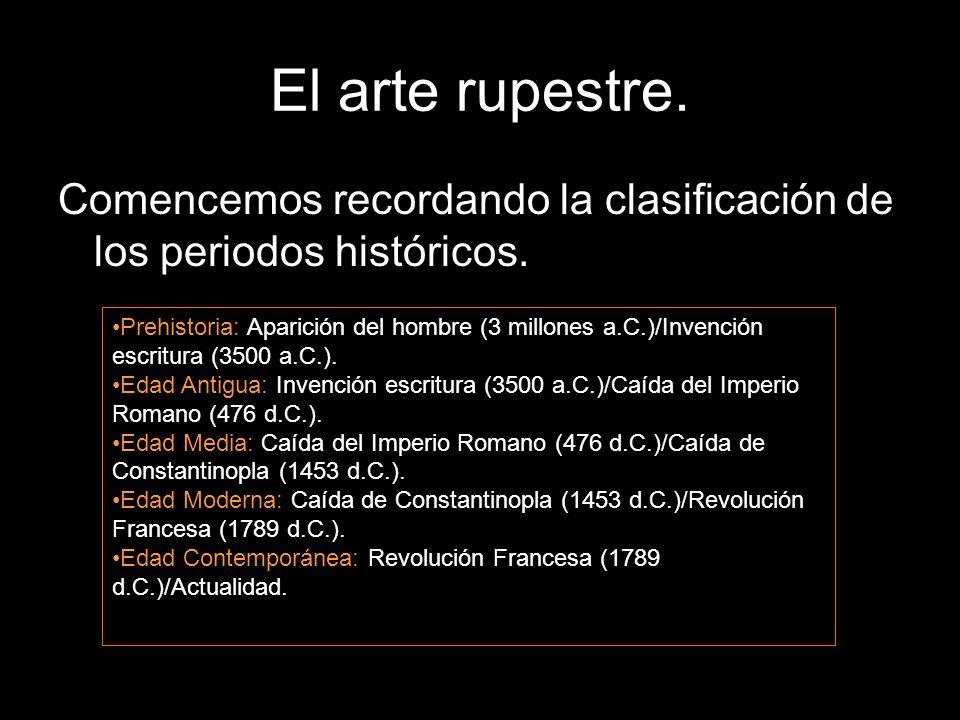 El arte rupestre. Comencemos recordando la clasificación de los periodos históricos.
