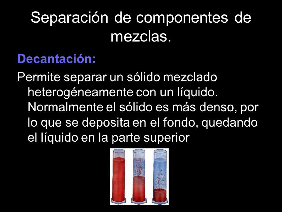 Separación de componentes de mezclas.
