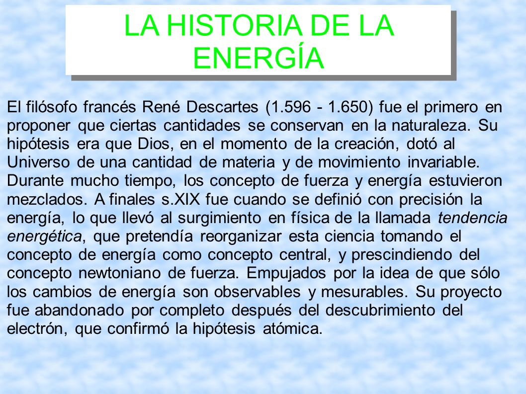 LA HISTORIA DE LA ENERGÍA