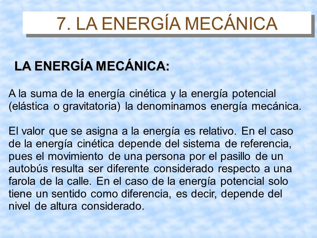 7. LA ENERGÍA MECÁNICA LA ENERGÍA MECÁNICA: