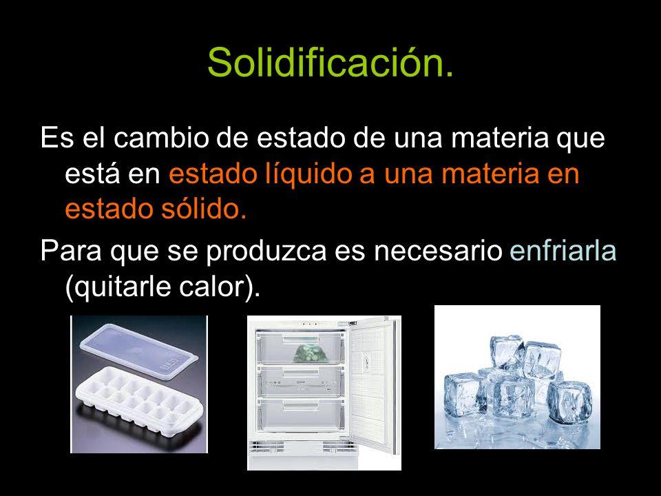 Solidificación. Es el cambio de estado de una materia que está en estado líquido a una materia en estado sólido.