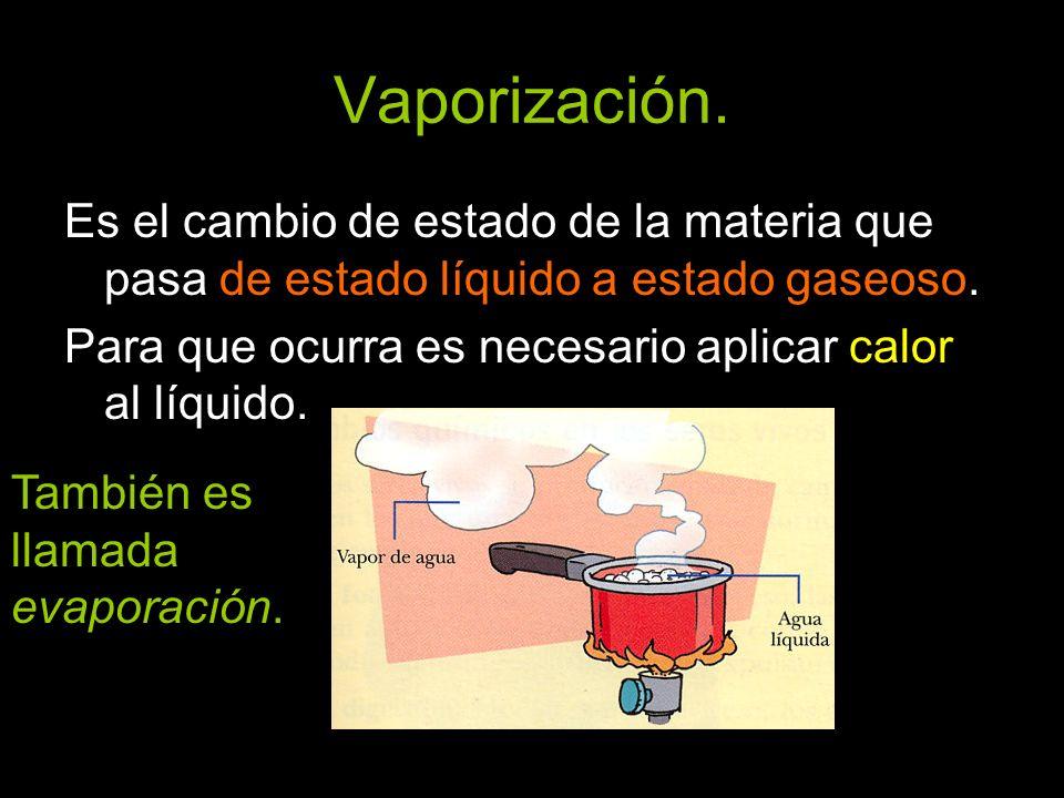 Vaporización.Es el cambio de estado de la materia que pasa de estado líquido a estado gaseoso.