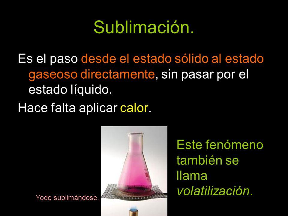 Sublimación.Es el paso desde el estado sólido al estado gaseoso directamente, sin pasar por el estado líquido.